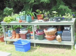 The potting bench's new home